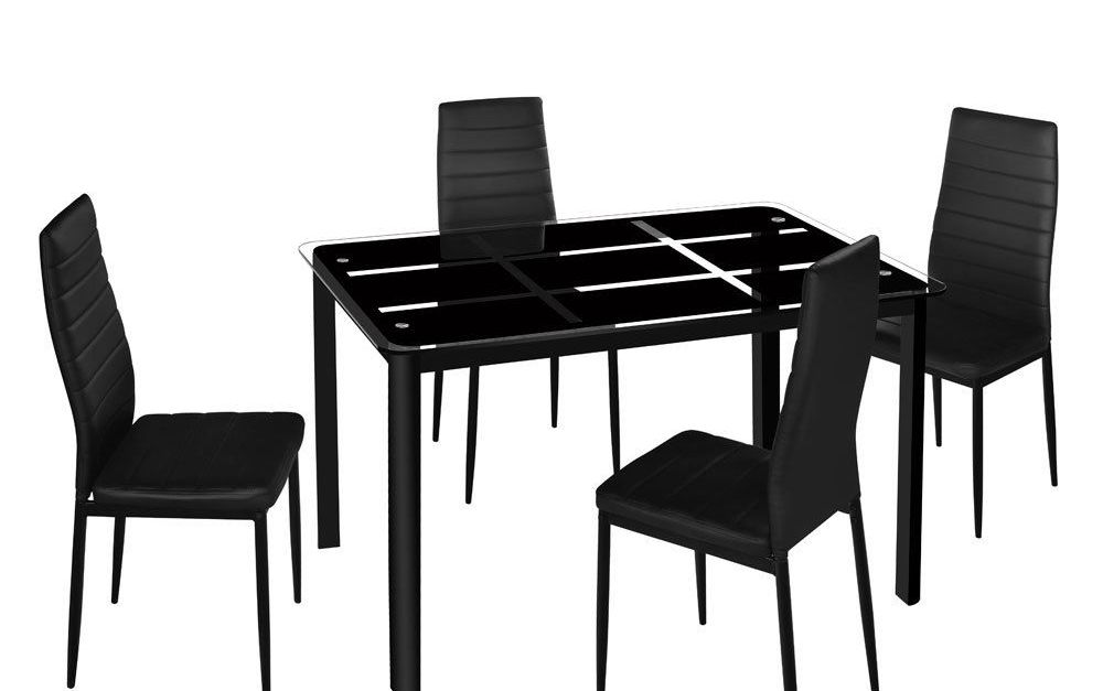 Zimtown new modern 5-piece dining table set with 4 chairs for $170