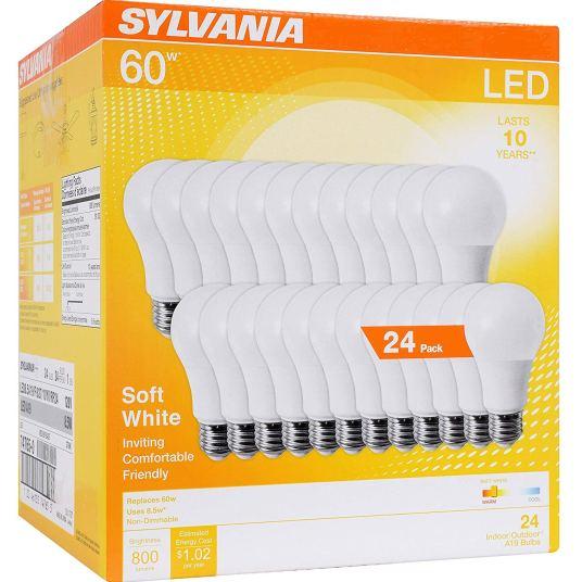 24-pack Sylvania 60W equivalent LED light bulbs for $23