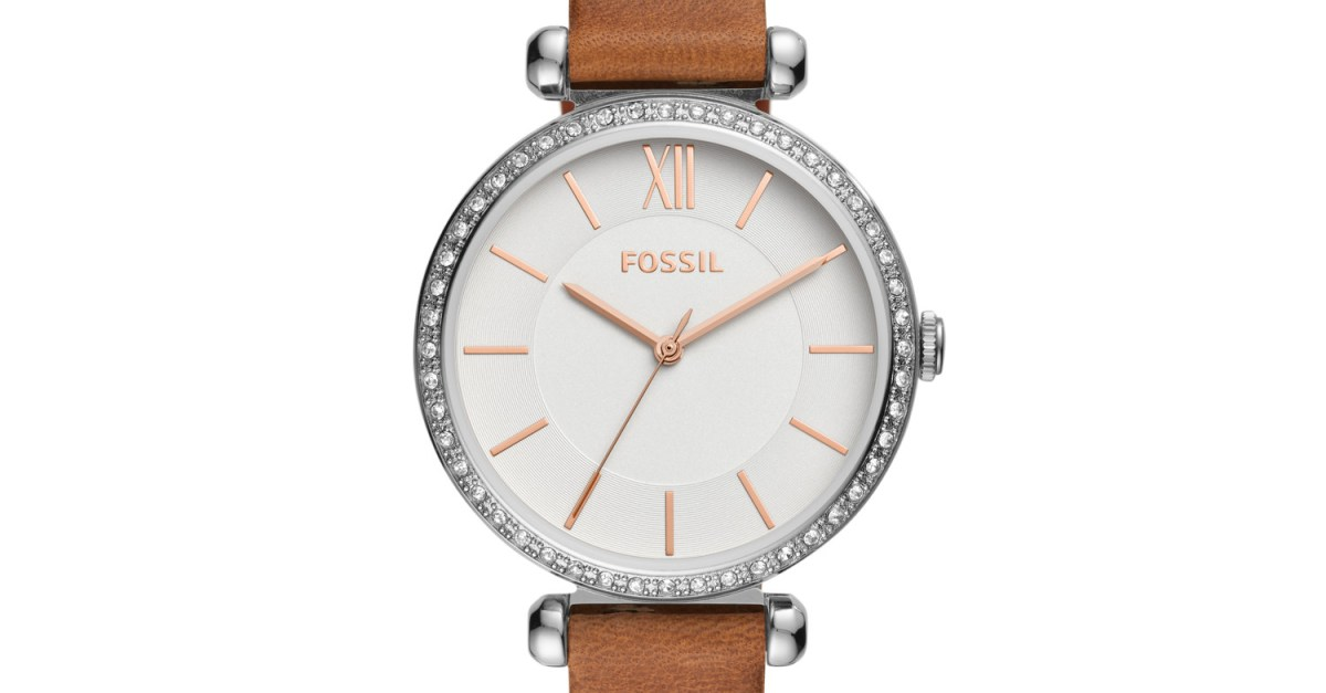 Fossil Tillie three-hand women's brown leather watch for $38, free shipping