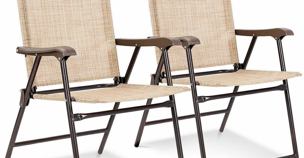 Set of 2 patio folding chairs for $43, free shipping