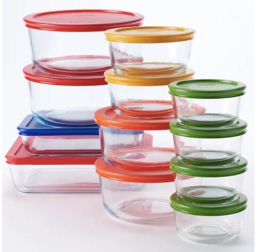 Pyrex 24-piece storage set with color lids for $26