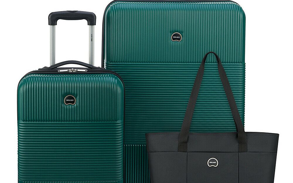 Delsey 3-piece hardside spinner luggage set for $110