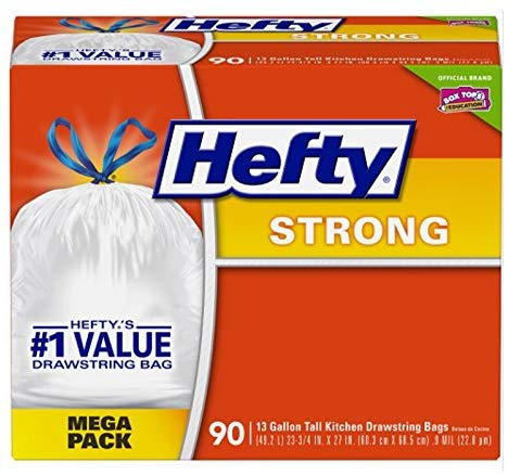 Hefty 90-count strong tall kitchen trash bags for $9