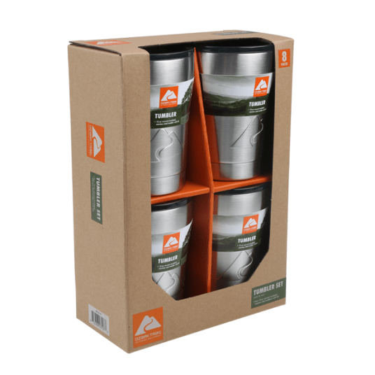 Set of 4 Ozark Trail 10-oz stainless steel lowball tumblers for $20