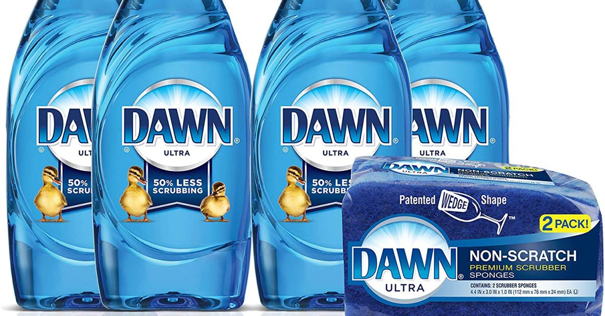 4-count Dawn dish soap + 2 sponges for $9
