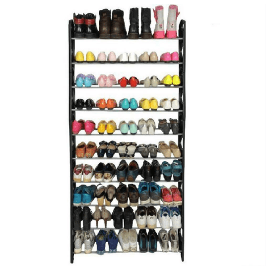 Stainless steel 50-pair 10-tier shoe rack for $15