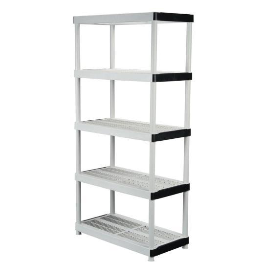 HDX 5-tier plastic garage storage shelving unit for $30