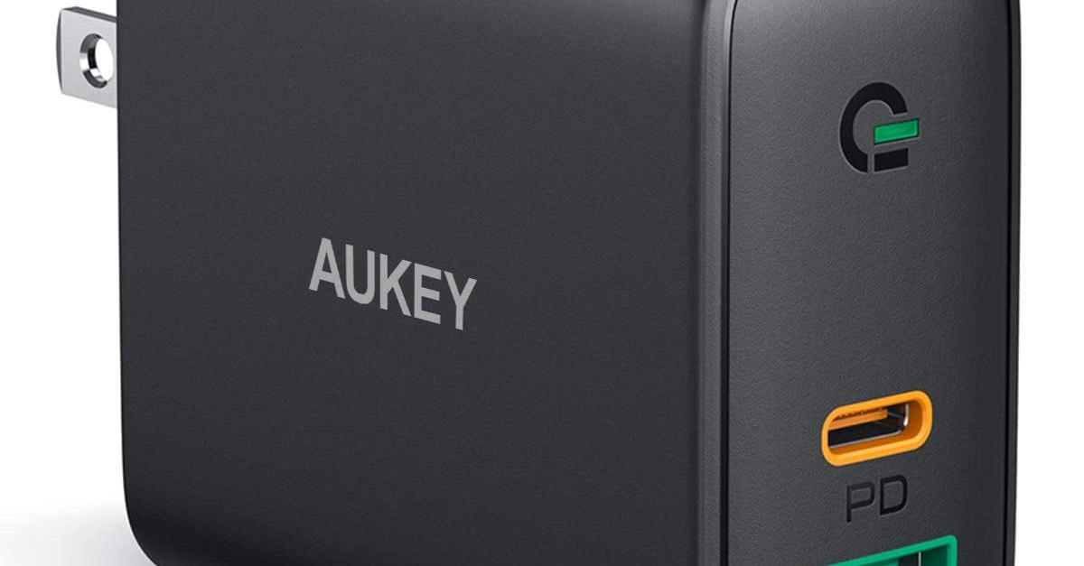 Aukey USB C and USB A fast wall charger for $13