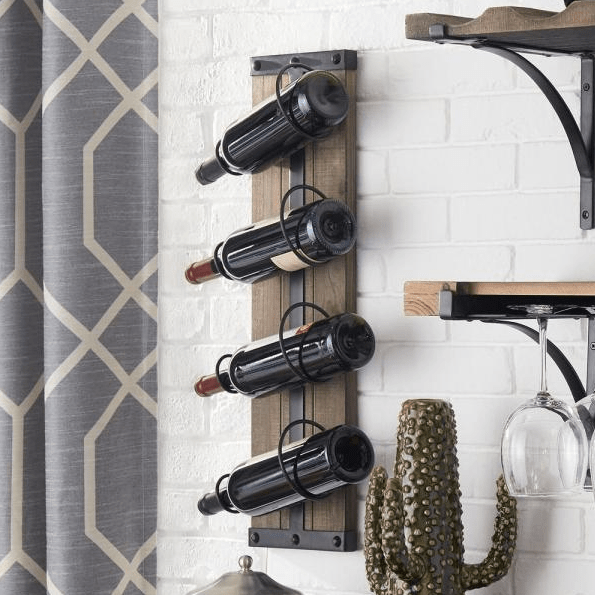 StyleWell 4-bottle vertical wall mounted wine rack for $30