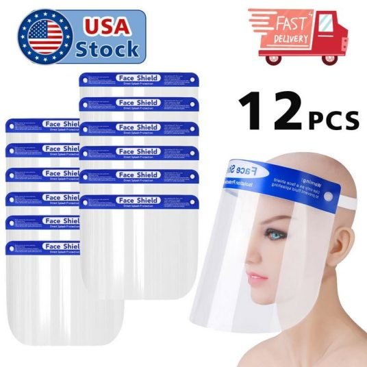 12-pack full face shield protection covers for $17, free shipping