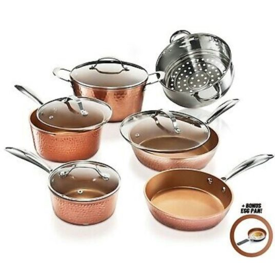 Gotham Steel 11-piece hammered nonstick copper cookware set for $100