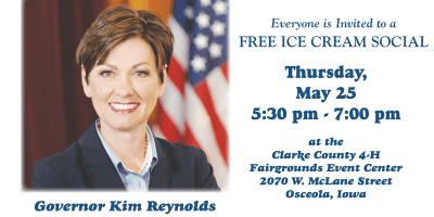 governor kim reynolds icecream social welcome home celebration