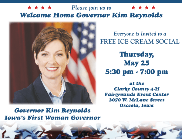 governot kim reaynolds icecream social welcome home celebration