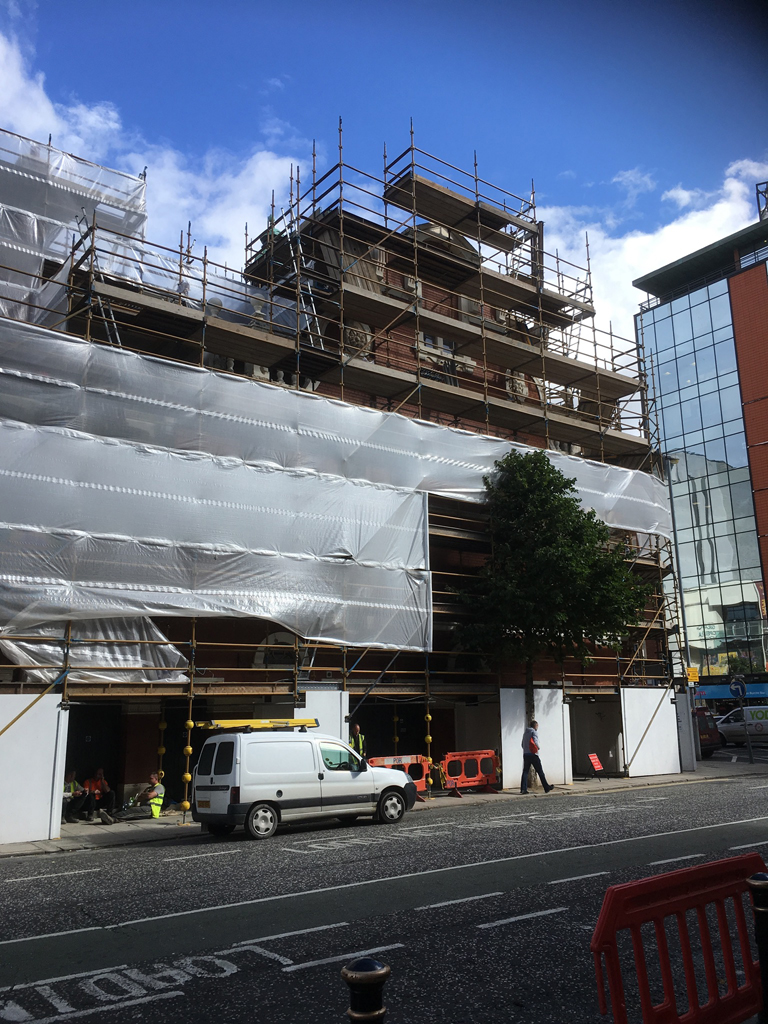 Scaffolding going up at the Grand Opera House Belfast