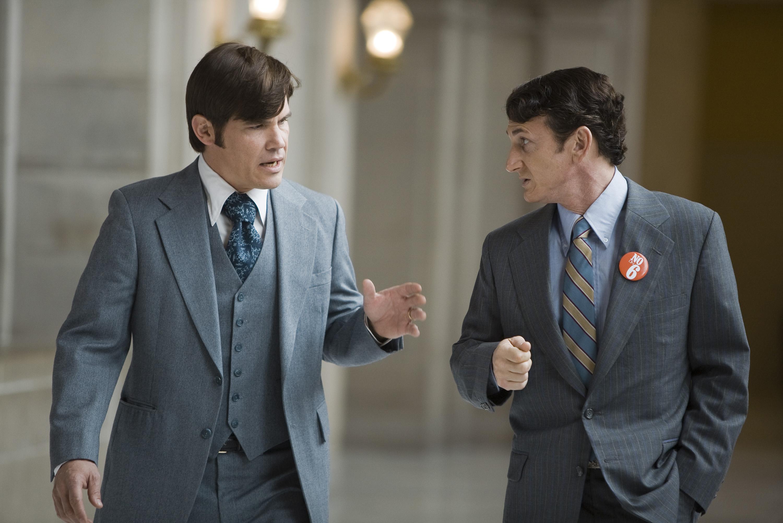 "Josh Brolin, left, plays Dan White and Sean Penn plays Harvey Milk in the drama ""Milk."""