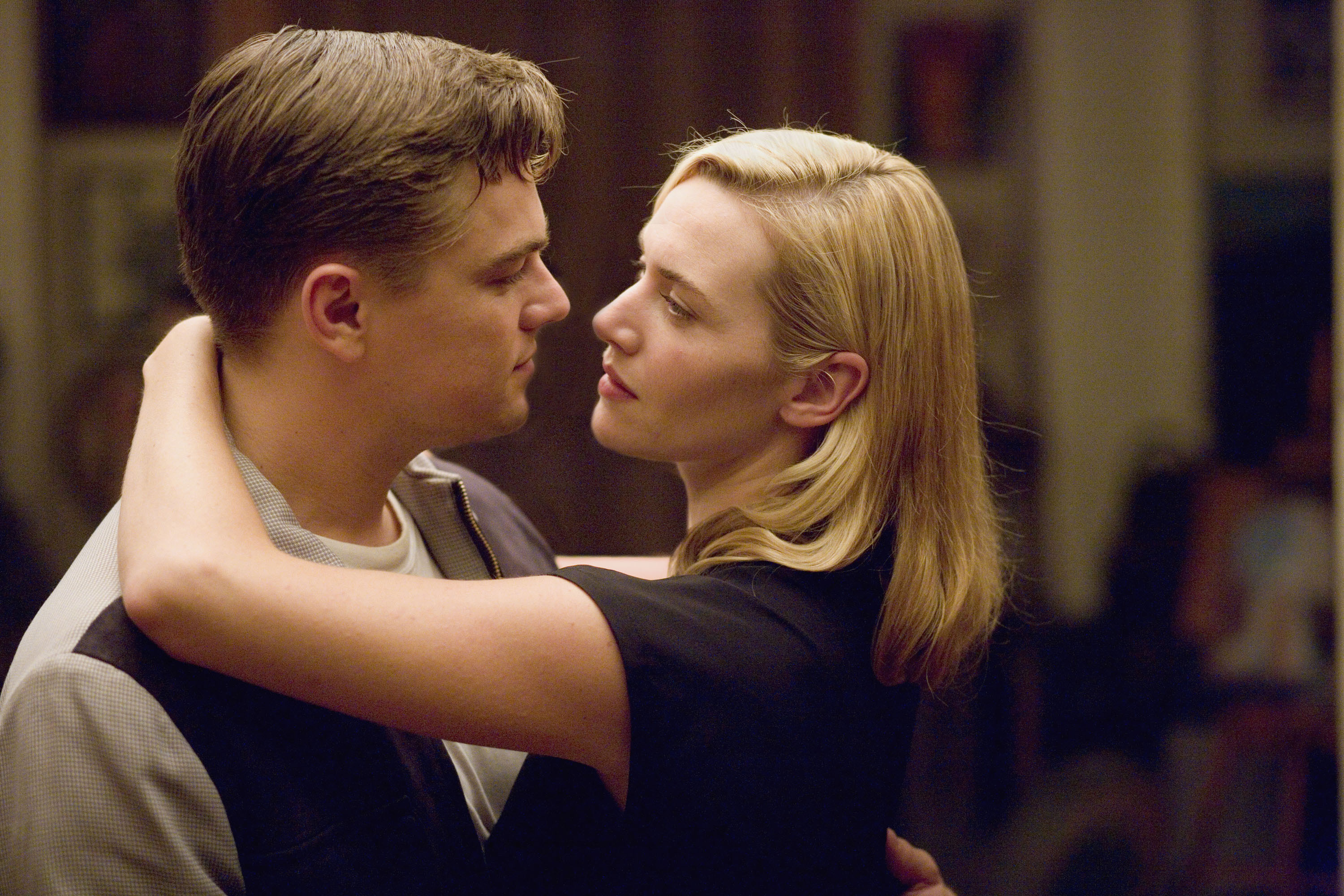 """Leonardo DiCaprio, left, and Kate Winslet play Frank and April Wheeler in the drama """"Revolutionary Road."""""""
