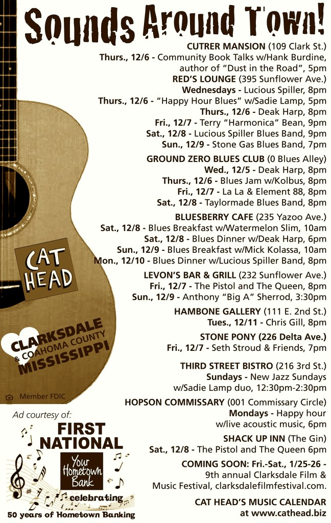 Playing live in Clarksdale this week.