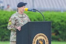 Command Sgt.  Shift.  Veronica Knapp speaks at the 101st Airborne Division Change of Responsibility, May 27, 2021 (U.S. Army photo by Pvt. Abegail Finck, 40th Public Affairs Detachment)