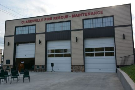 Outside the new Clarksville Fire Rescue Maintenance Garage at the ribbon-cutting for the new facility on Wed July 7 2021 (Lee Erwin).
