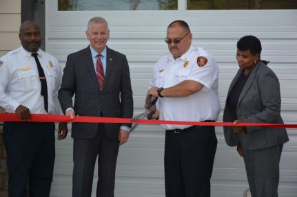 L-R, Clarksville Fire Rescue Chief Freddie Montgomery, Mayor Joe Pitts, Clarksville Fire Rescue Assistant Chief of Maintenance Bobby Nall, and Councilwoman Wanda Smith at the ribbon cutting for the new Clarksville Fire Rescue Maintenance Garage on Wed July 7 2021 (Lee Erwin).