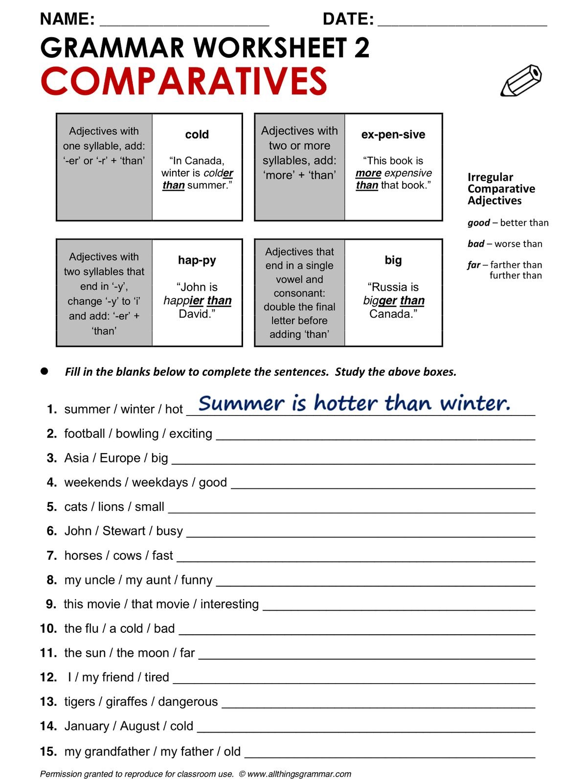 Comparatives Worksheet