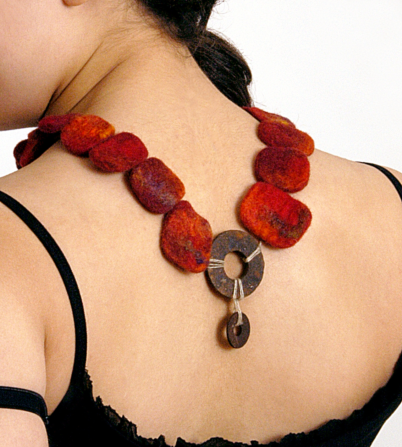 Recycled metal and wet felt necklace