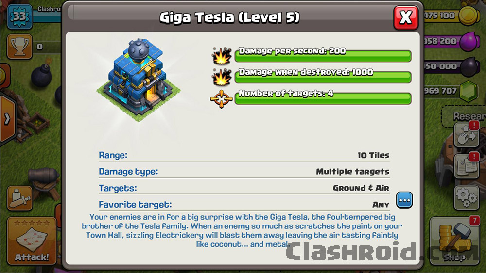 Upgrade Giga Tesla in COC Mod