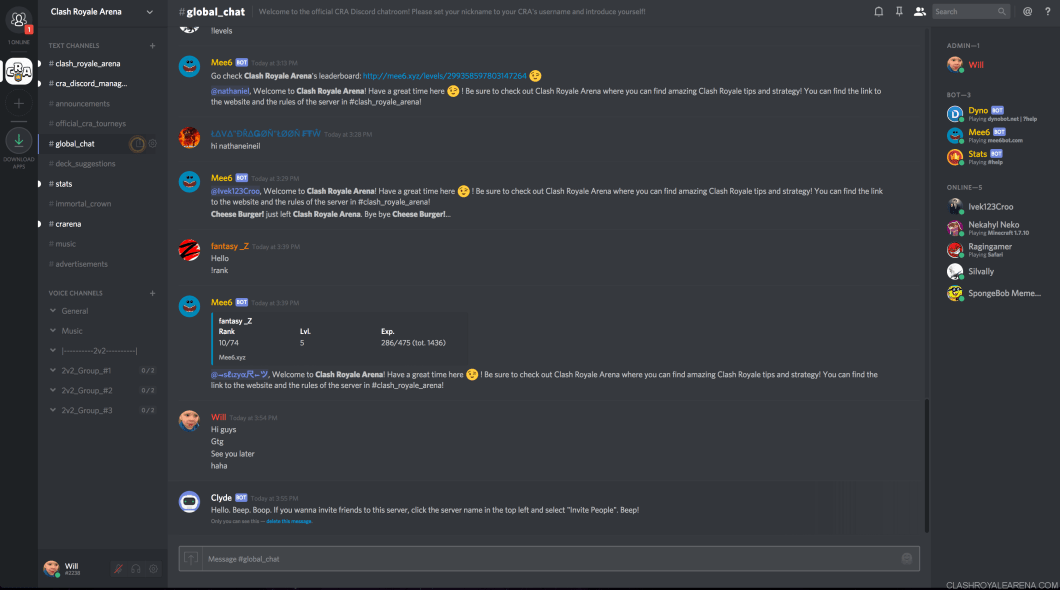 clash royale arena discord server