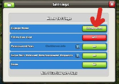 Clash of Clans Change Name Change new