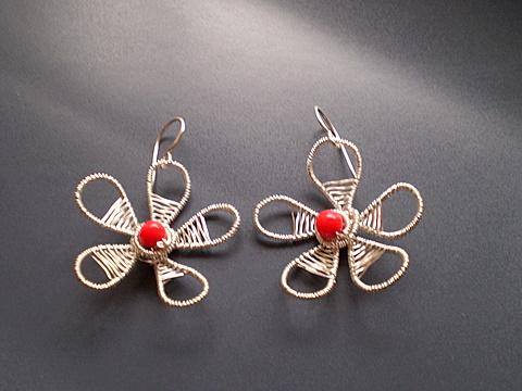 bijuterii-cercei-handmade-rosu