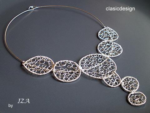 bijuterii argint lucrate manual-colier poetry