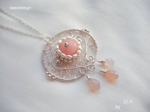colier jad roz-perle