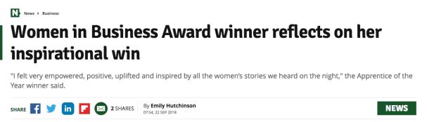 PR example of award win