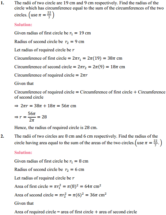 NCERT Solutions for Class 10 Maths Chapter 12 Areas Related to Circles Ex 12.1 1
