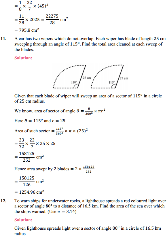 NCERT Solutions for Class 10 Maths Chapter 12 Areas Related to Circles Ex 12.2 12