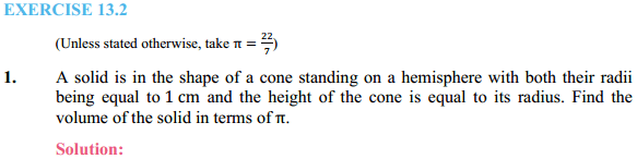 NCERT Solutions for Class 10 Maths Chapter 13 Surface Areas and Volumes Ex 13.2 1