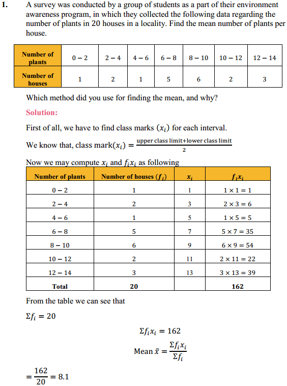 NCERT Solutions for Class 10 Maths Chapter 14 Statistics Ex 14.1 1