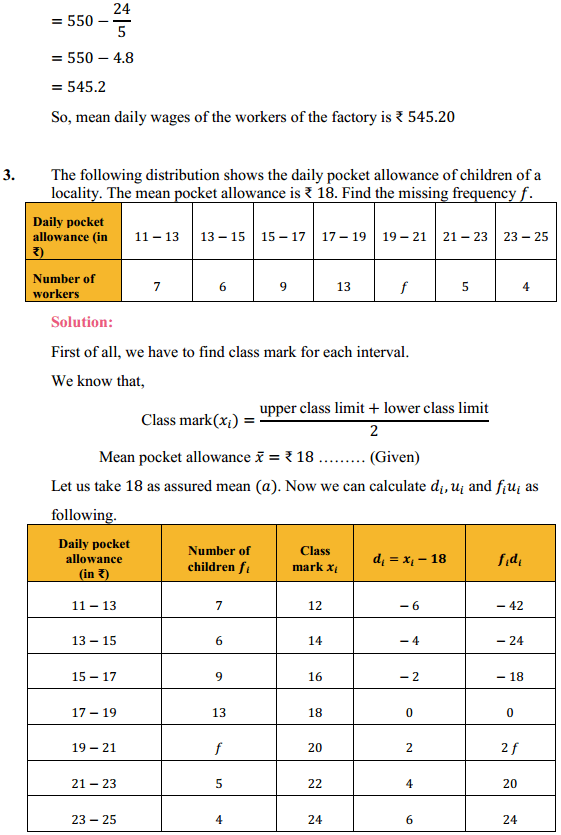 NCERT Solutions for Class 10 Maths Chapter 14 Statistics Ex 14.1 3