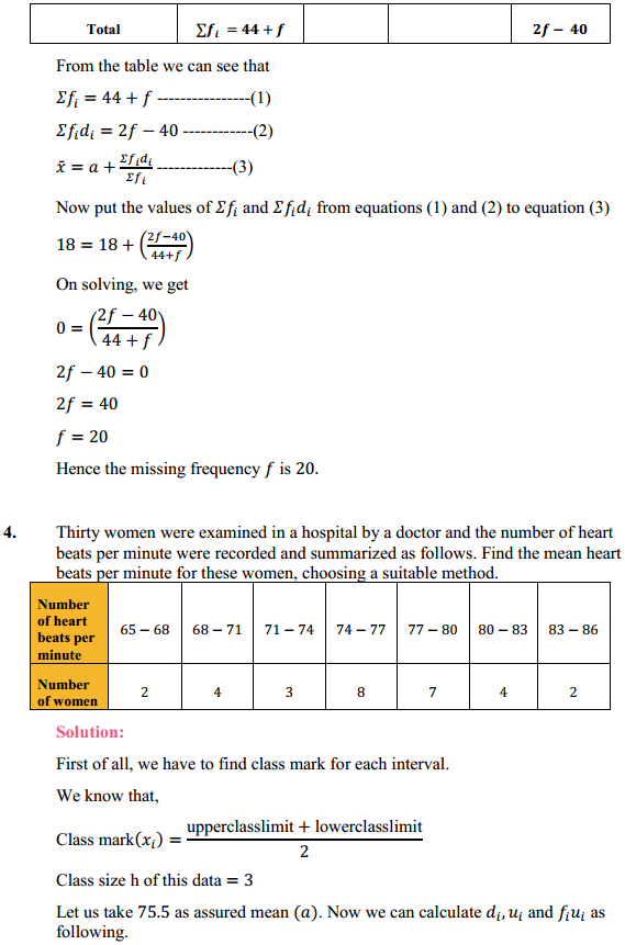 NCERT Solutions for Class 10 Maths Chapter 14 Statistics Ex 14.1 4