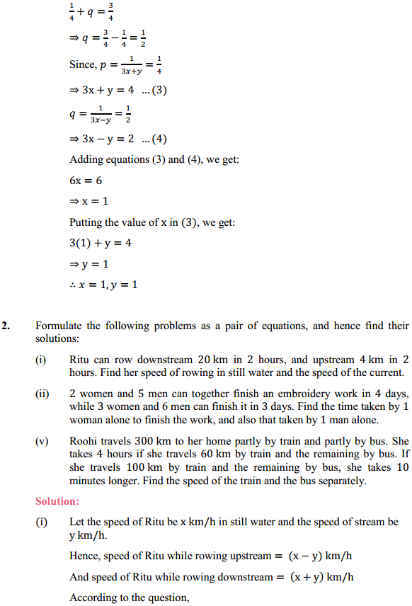 NCERT Solutions for Class 10 Maths Chapter 3 Pair of Linear Equations in Two Variables Ex 3.6 8