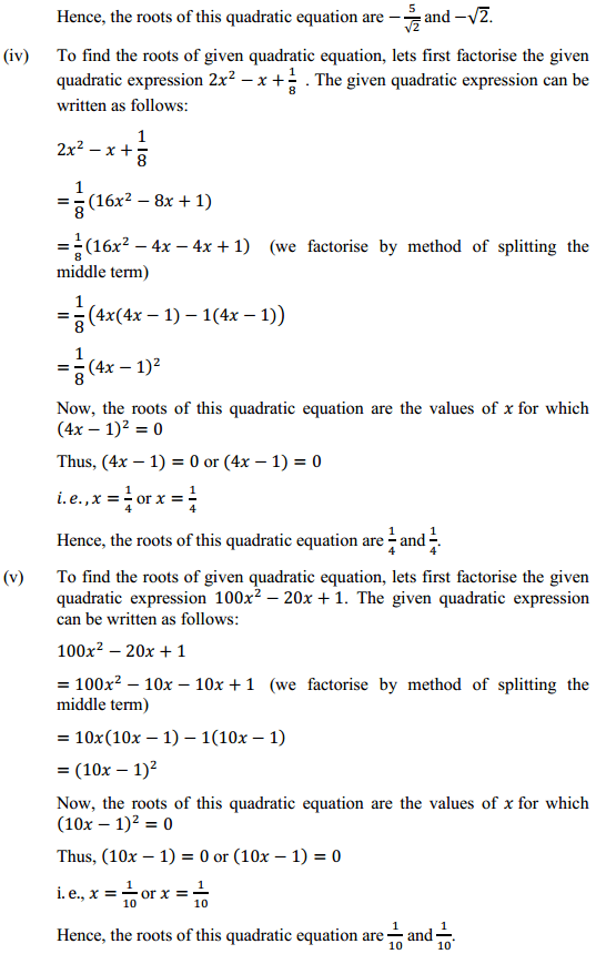 NCERT Solutions for Class 10 Maths Chapter 4 Quadratic Equations Ex 4.2 3