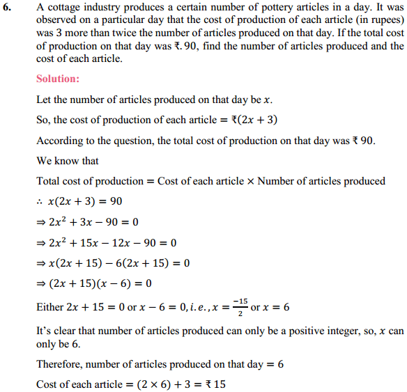 NCERT Solutions for Class 10 Maths Chapter 4 Quadratic Equations Ex 4.2 7