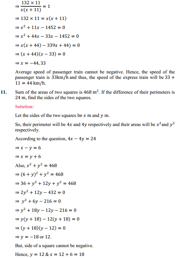 NCERT Solutions for Class 10 Maths Chapter 4 Quadratic Equations Ex 4.3 12