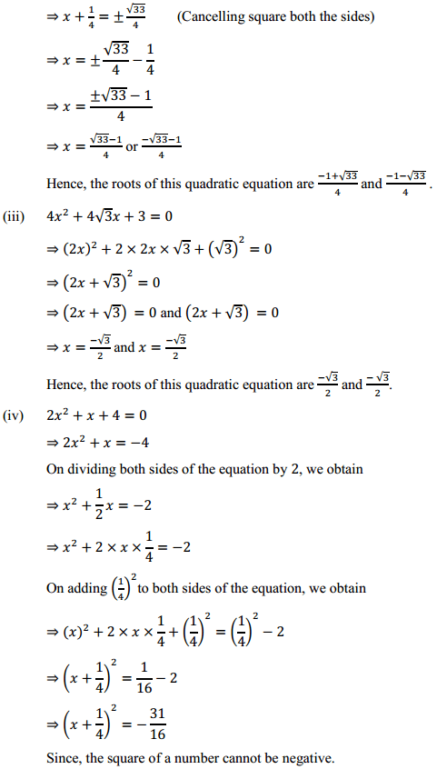 NCERT Solutions for Class 10 Maths Chapter 4 Quadratic Equations Ex 4.3 3