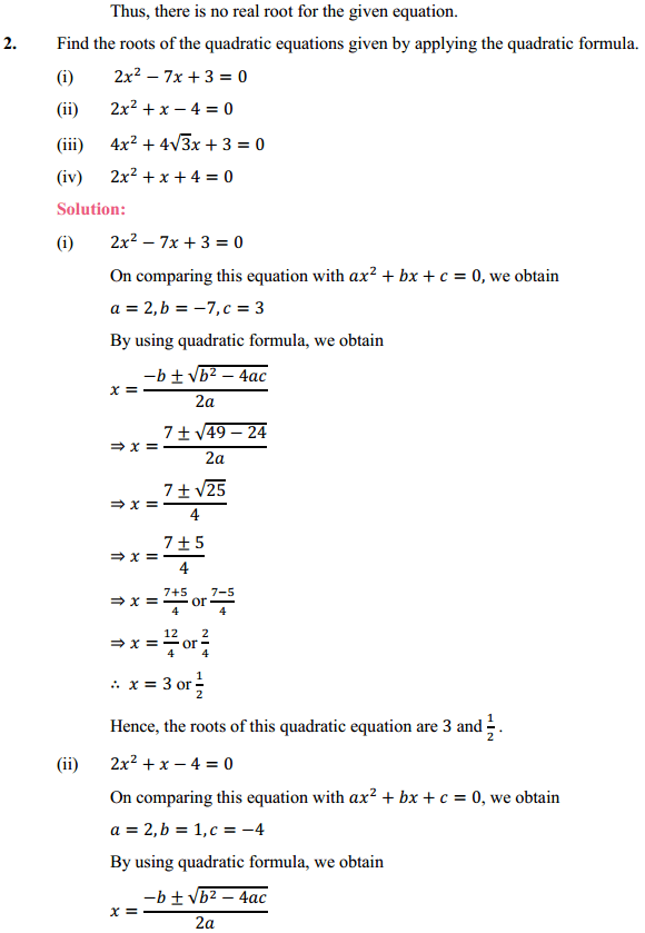 NCERT Solutions for Class 10 Maths Chapter 4 Quadratic Equations Ex 4.3 4