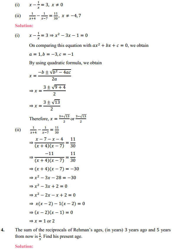 NCERT Solutions for Class 10 Maths Chapter 4 Quadratic Equations Ex 4.3 6