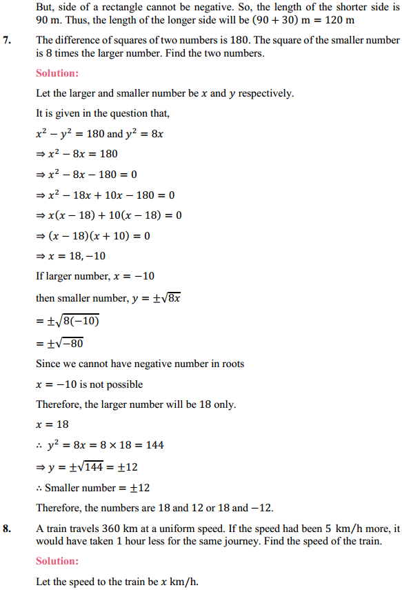 NCERT Solutions for Class 10 Maths Chapter 4 Quadratic Equations Ex 4.3 9