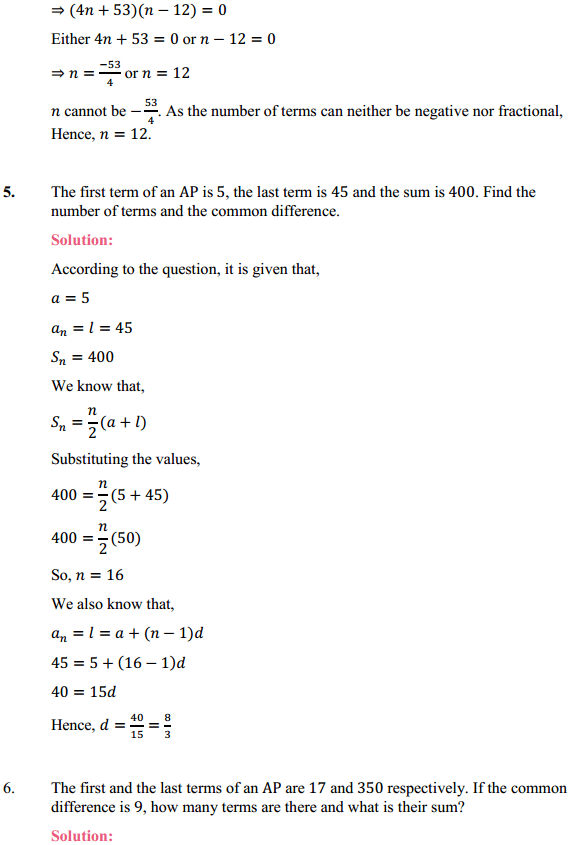 NCERT Solutions for Class 10 Maths Chapter 5 Arithmetic Progressions Ex 5.3 13