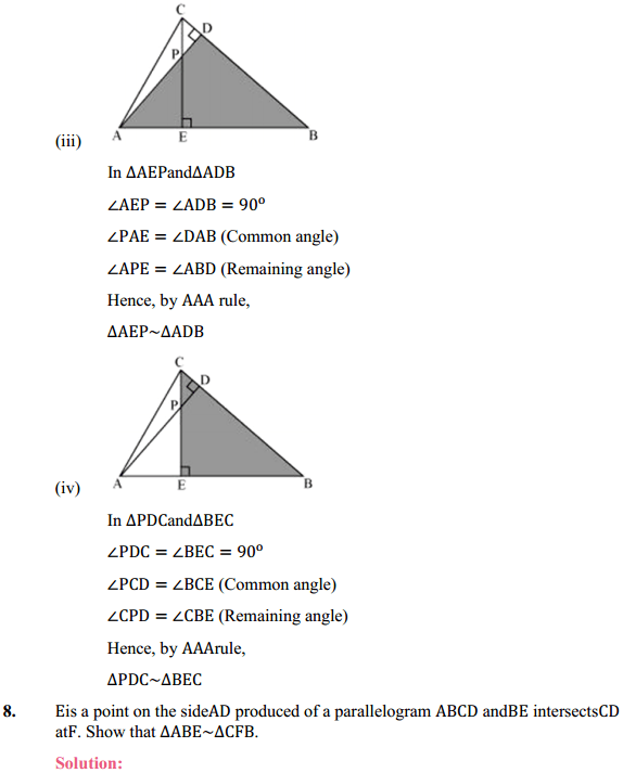 NCERT Solutions for Class 10 Maths Chapter 6 Triangles Ex 6.3 8