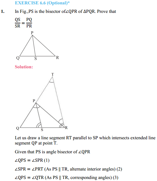 NCERT Solutions for Class 10 Maths Chapter 6 Triangles Ex 6.6 1